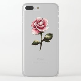 Pink Rose Embroidery Clear iPhone Case