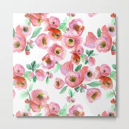Floral Print Pink Chaenomeles Metal Print