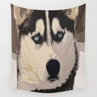 duvet cover Wall Tapestries featuring DOG DUVET COVER by aztosaha