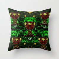 leather Throw Pillows featuring Leather Heads by Pepita Selles