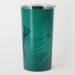 Funny Christmas Tree Hunted by lumberjack (Funny Humor) Travel Mug