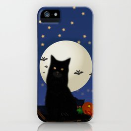 Halloween cat, Halloween, cat, moon, pumpkin, Halloween pumpkin, Halloween night, bats iPhone Case