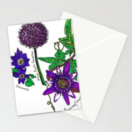 Purple Garden Flowers Stationery Cards