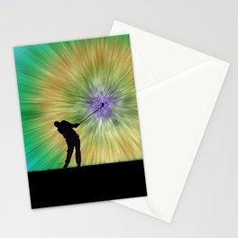 Green Tie Dye Golfer Silhouette Stationery Cards
