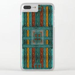 """""""Blue vintage textile patches"""" Clear iPhone Case"""