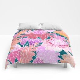 Ginger Flowers in Coral + Dark Teal Green Comforters