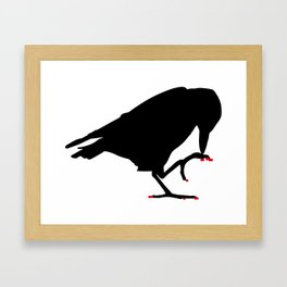 Crow with red pixel nails  Framed Art Print