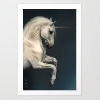unicorn Art Prints featuring Unicorn by Waving Monster Studios
