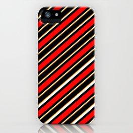 TEAM COLORS 1…Black red orange white diagonal stripe iPhone Case