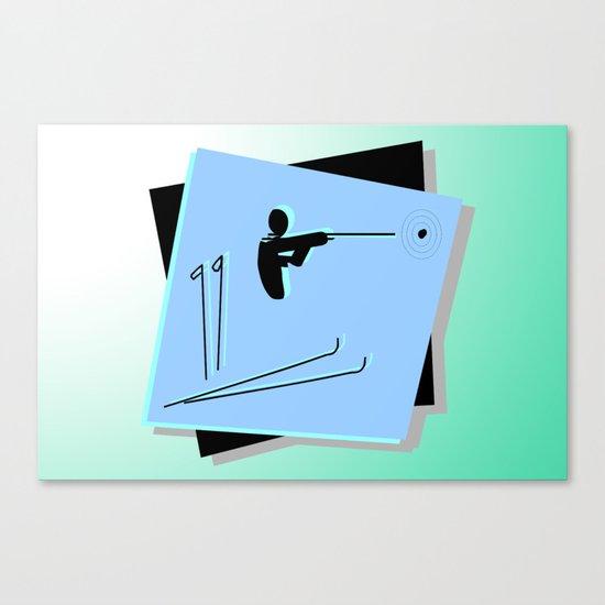 Biathlon silhouettes  Canvas Print