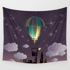 Balloon Aeronautics Night Wall Tapestry