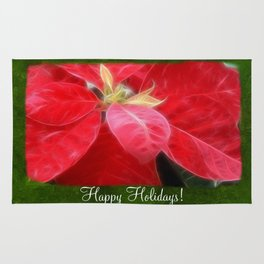 Mottled Red Poinsettia 2 Happy Holidays P1F1 Rug