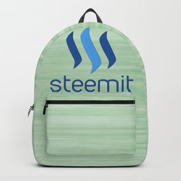 Steemit on Green Backpack