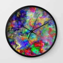 Abstract bright colorful watercolor brushstrokes pattern Wall Clock