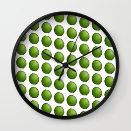 Whole Green Limes on White Wall Clock