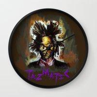 basquiat Wall Clocks featuring Jean Basquiat by Tazmatic
