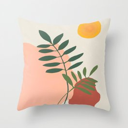 Green leaves on the rocks under the sun, mid century  Throw Pillow