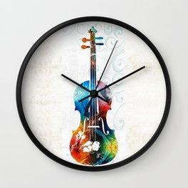 Colorful Violin Art by Sharon Cummings Wall Clock