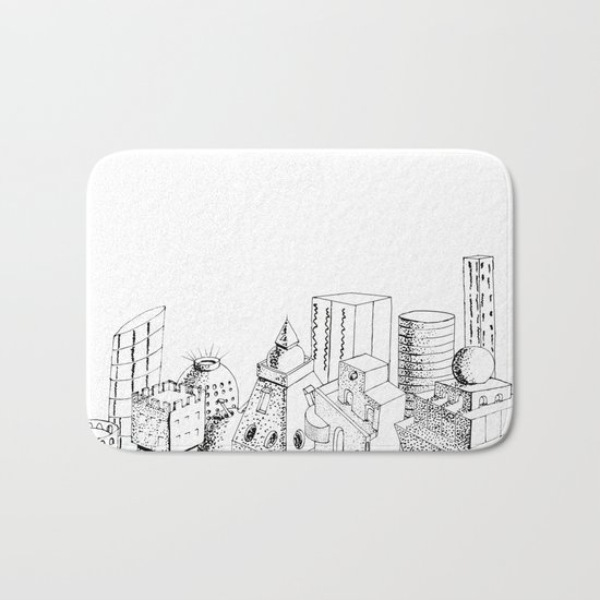cubes and balls in the city Bath Mat
