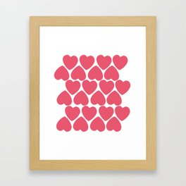 Seamless pattern with big pink hearts Framed Art Print