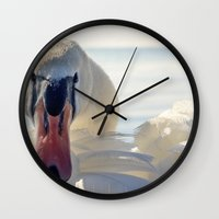 swan queen Wall Clocks featuring Swan by Enkel Dika