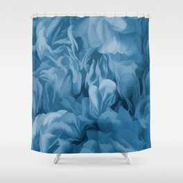 Midnight Blue Petal Ruffle Abstract Shower Curtain