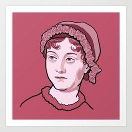 Jane Austen Red Pink Art Print