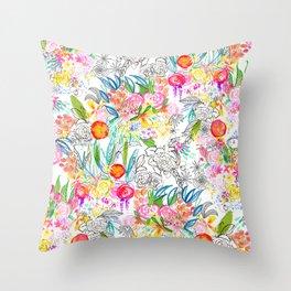 Tropical Botanical Sketchbook  Throw Pillow