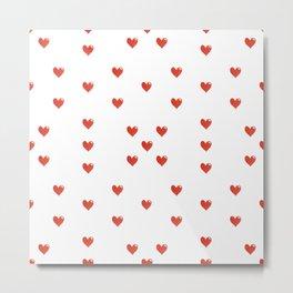 Cute Hearts Motif Pattern Metal Print