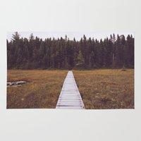hiking Area & Throw Rugs featuring Fall Hiking by Simon Laroche