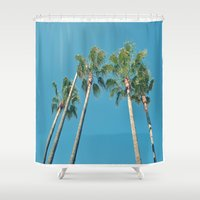 palm tree Shower Curtains featuring Palm tree by Laura James Cook