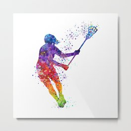 Lacrosse Girl Colorful Watercolor Sports Art Gift Metal Print