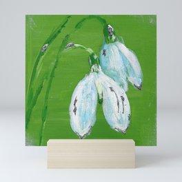 Silver snowdrops Mini Art Print