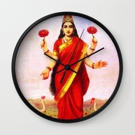 Lakshmi Kamala Devi Lotus Hindu Deity Wall Clock