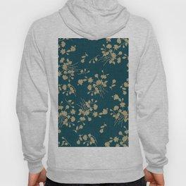 Gold Green Blue Flower Sihlouette Hoody