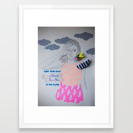 Keep your head in the clouds & your toes in the water Framed Art Print