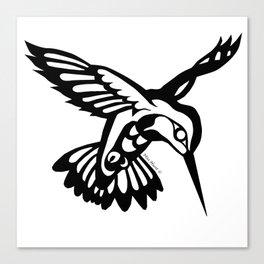 Hummingbird black on white Canvas Print