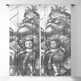 Vintage Style Black and White Illustration Of Santa Claus Sheer Curtain
