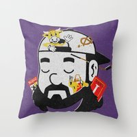 kevin russ Throw Pillows featuring Kevin by Derek Eads