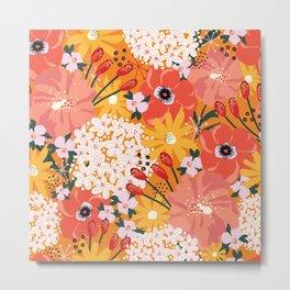 Blooming Summer Flowers Orange Red White Pattern Metal Print