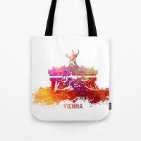 vienna Tote Bags featuring Vienna skyline by jbjart
