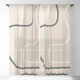 Abstract Line Sheer Curtain