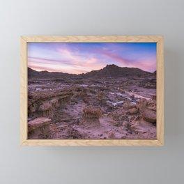 Colorful Winter Sunset in Badlands National Park South Dakota Framed Mini Art Print