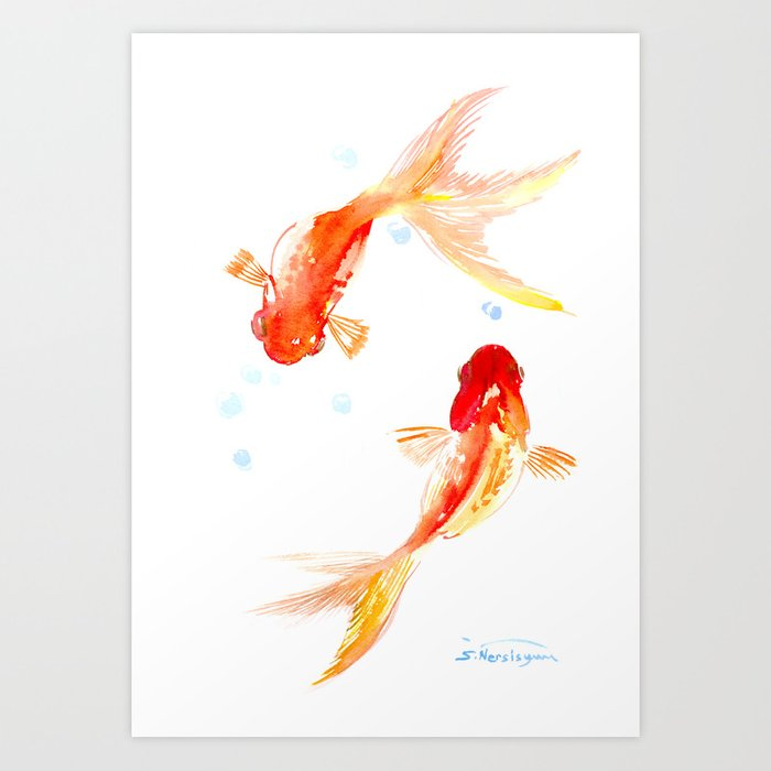 Goldfish, Two Koi Fish, Feng Shui, yoga Asian meditation design Art Print  by sureart