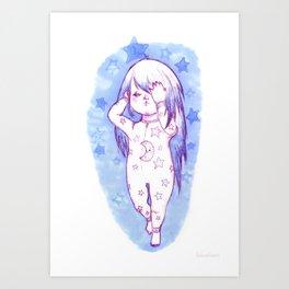 Sleepy Blue Girl Art Print