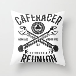 Cafe Racer Reunion Vintage Tools Poster Throw Pillow