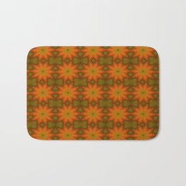 Autumnal Leaves Red and Green Repeating Pattern Bath Mat