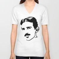 tesla V-neck T-shirts featuring nicola tesla by b & c