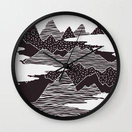 Mountain Peaks Digital Art Wall Clock