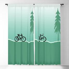 Minimal Design - Tree Road Bicycle green Blackout Curtain